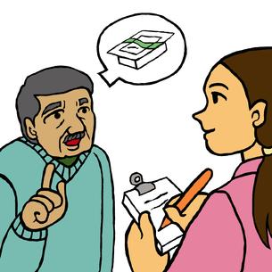利用者から豆腐購入を依頼される訪問介護ヘルパー(買物代行)の写真素材 [FYI00112866]