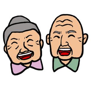 高齢者(80代位)男女の大笑いの表情の顔の写真素材 [FYI00112867]