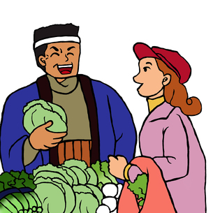 産直野菜を売る男性と買物をする若い女性の写真素材 [FYI00112871]