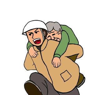 高齢男性をおんぶして走る、ヘルメットの男性の写真素材 [FYI00112872]
