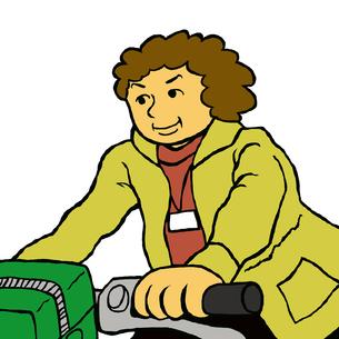 自転車に乗り利用者宅に向かう介護・福祉専門職の写真素材 [FYI00112875]