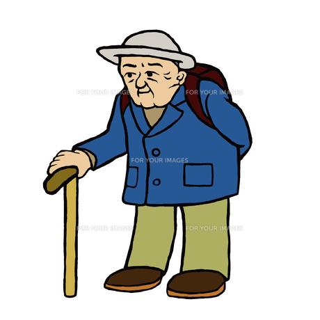杖で歩行、外出する90代くらいの高齢男性の写真素材 [FYI00112877]