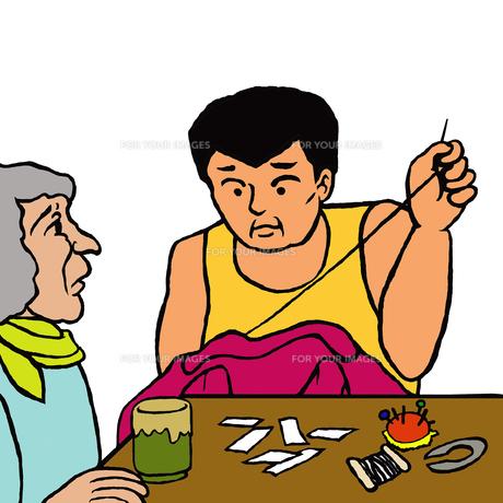 認知症の母の横で母の服に名札を縫い付ける息子(徘徊対策)の写真素材 [FYI00112880]