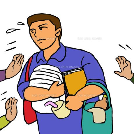あちこちから用事や介助を頼まれ忙しい施設介護職の男性の写真素材 [FYI00112881]