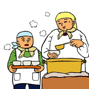 炊き出しを手伝う親子の写真素材 [FYI00112884]