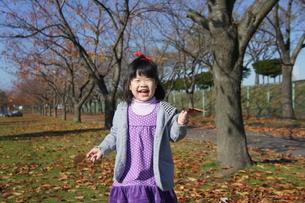 落葉を拾って喜ぶ女の子の写真素材 [FYI00113075]