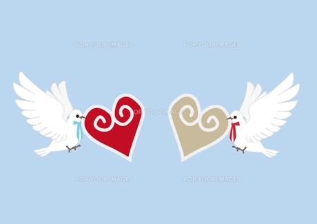 ハートをくわえた白い2羽の鳩の素材 [FYI00113825]