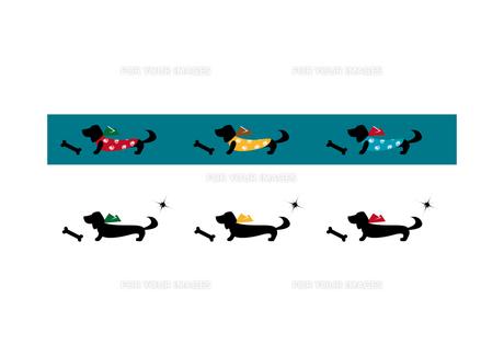 リボンを付けた犬と骨の写真素材 [FYI00113843]