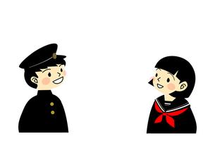 詰め襟とセーラー服姿の笑顔の学生の素材 [FYI00113848]