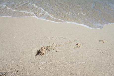 波打ち際の足跡の写真素材 [FYI00116705]