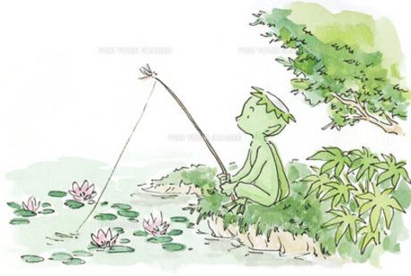 魚釣りをする河童の素材 [FYI00116710]