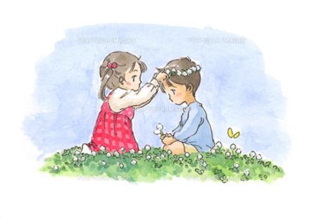シロツメクサと子供の素材 [FYI00116715]