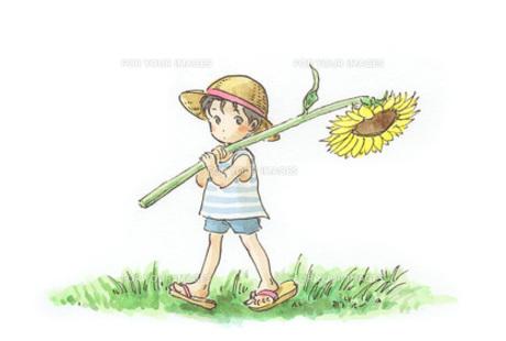 ヒマワリと子供の素材 [FYI00116729]