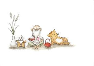 お月見をするお爺さんと猫の素材 [FYI00116730]