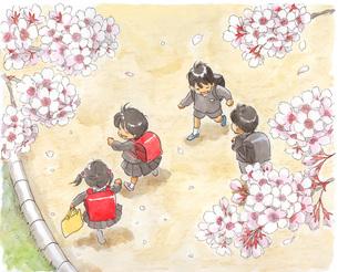 小学生と桜の写真素材 [FYI00116731]