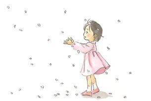 桜吹雪の中の女の子の素材 [FYI00116737]