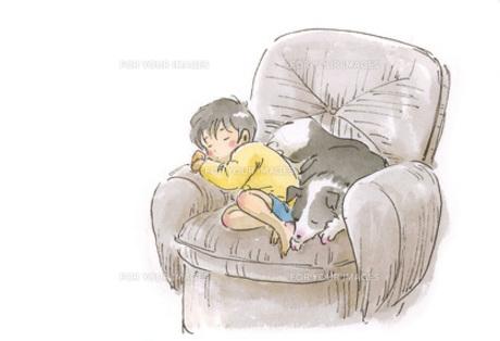 ソファーで眠る男の子と犬の素材 [FYI00116740]