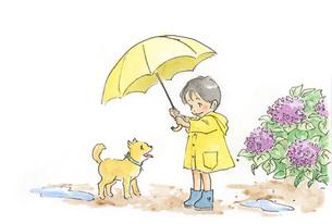 傘をさす男の子と子犬の素材 [FYI00116741]