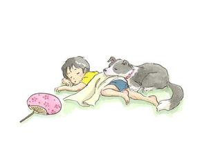 眠る男の子と犬の素材 [FYI00116743]