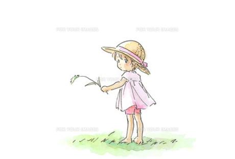 麦わら帽子の女の子の素材 [FYI00116744]