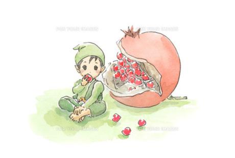 アケビを食べる小人の素材 [FYI00116749]