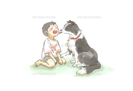 泣く男の子と慰める犬の素材 [FYI00116750]