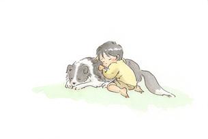 眠る男の子と犬の素材 [FYI00116752]
