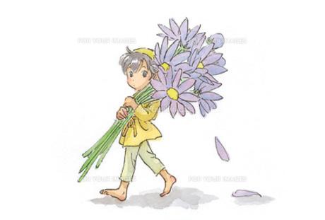 紫色の花を背負う小人の素材 [FYI00116753]