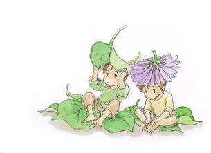 花をかぶる小人の素材 [FYI00116760]