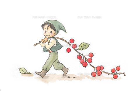 赤い実を背負う小人の素材 [FYI00116761]