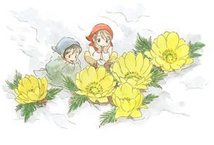雪の中の花と小人の素材 [FYI00116763]