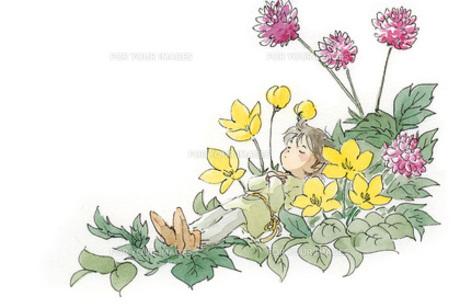 花の中で眠る小人の素材 [FYI00116766]