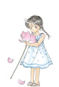 蓮の花と女の子の素材 [FYI00116767]