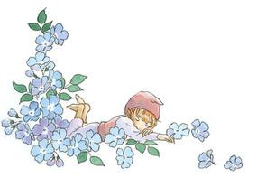 青い花の中で眠る小人の素材 [FYI00116769]
