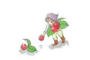 赤い実を拾う小人の素材 [FYI00116774]
