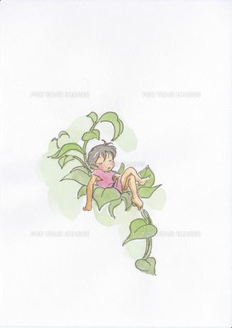 草の中で昼寝する小人の素材 [FYI00116775]