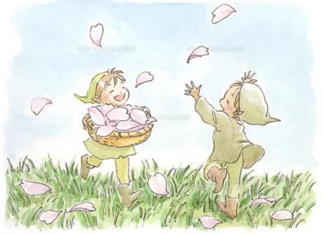 花びらで遊ぶ小人の素材 [FYI00116781]
