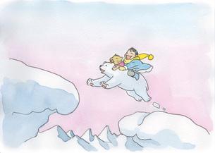 白熊に乗る少年と猫の素材 [FYI00116784]
