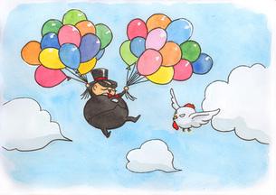 風船で飛ぶ男性と鶏の写真素材 [FYI00116787]