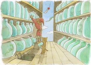 倉庫の中の小人と猫の素材 [FYI00116790]