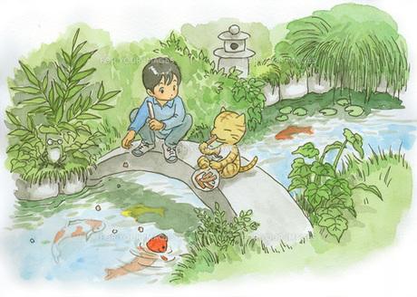 庭の鯉と少年と猫の素材 [FYI00116791]