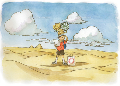 砂漠の中の少年と猫の素材 [FYI00116792]