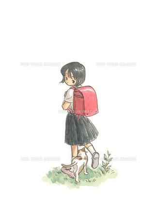 猫とランドセルの女の子の素材 [FYI00116793]