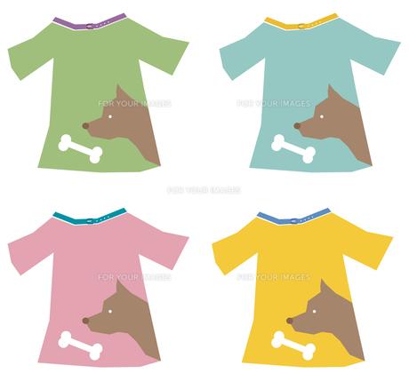犬柄のTシャツ4色セットの写真素材 [FYI00116874]