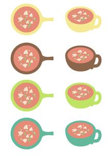 野菜スープ4色セットの写真素材 [FYI00116893]