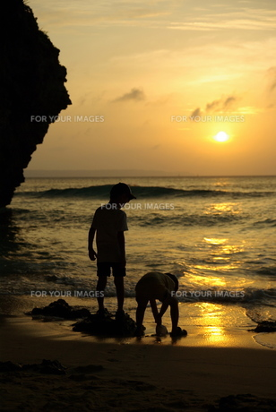 夕暮れの波打ち際の写真素材 [FYI00117285]