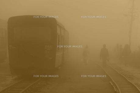霧の中のダージリン鉄道の素材 [FYI00117601]