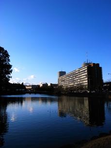 池とビルと空の写真素材 [FYI00117724]