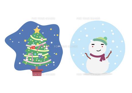 クリスマスツリーと雪だるまの写真素材 [FYI00118670]