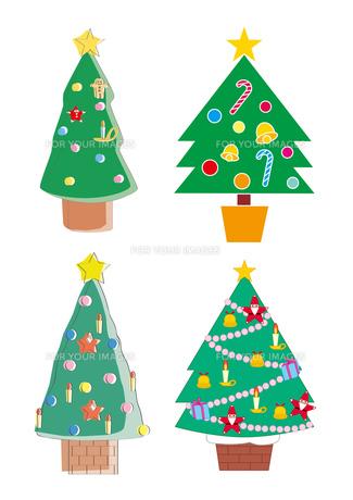 4種類のクリスマスツリーの写真素材 [FYI00118687]